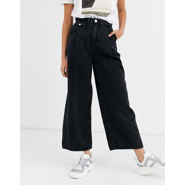 モンキ レディース デニムパンツ ボトムス Monki Nani denim wide leg pants with organic cotton in washed black Black