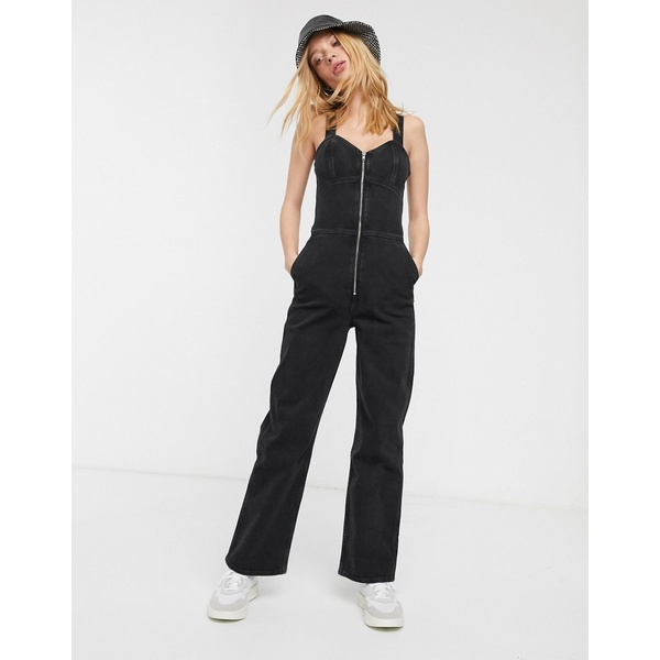ウィークデイ レディース ワンピース トップス Weekday Augusta zip front sleeveless denim jumpsuit in black Turned black