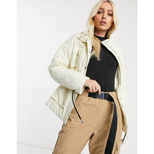 ミスガイデッド レディース コート アウター Missguided quilted jacket with drawstring waist detail in cream Cream