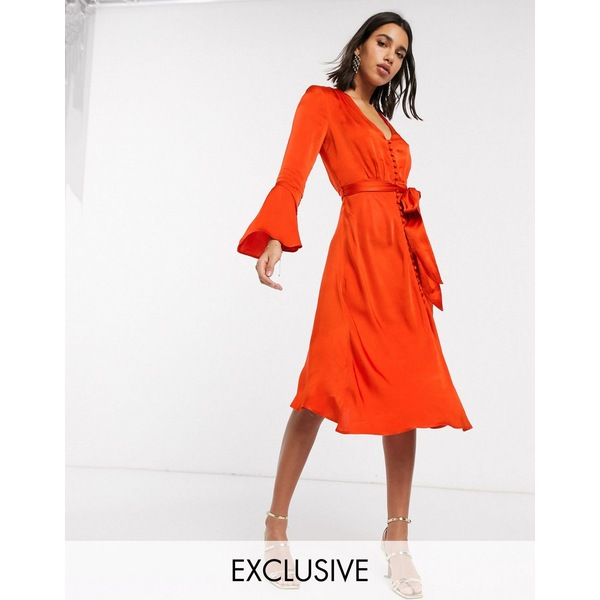 ゴースト レディース ワンピース トップス Ghost exclusive annabelle satin button front midi dress with flare sleeves Orange