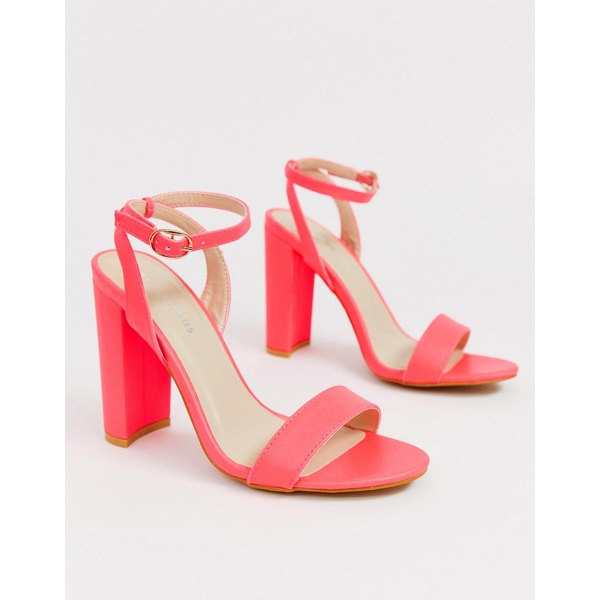 グラマラス レディース サンダル シューズ Glamorous neon pink barely there block heeled sandals Neon pink pu