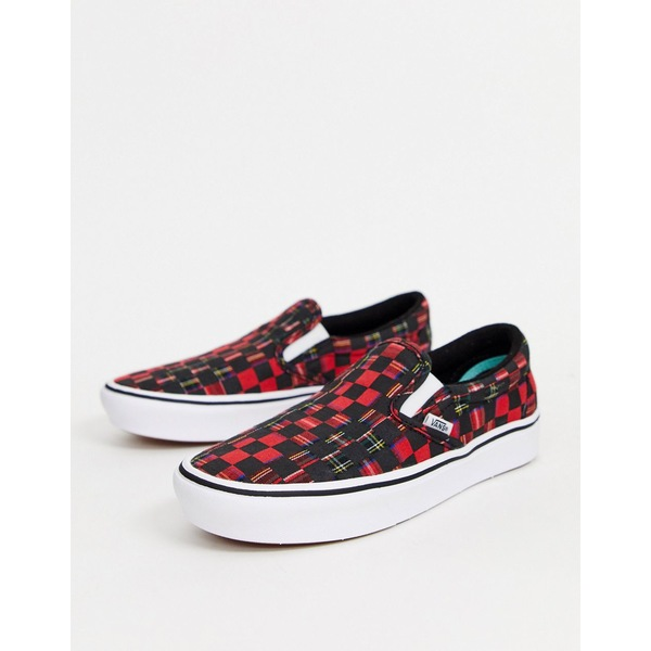 バンズ レディース スニーカー シューズ Vans ComfyCush Slip-On sneakers in plaid check (plaid check) red/tr