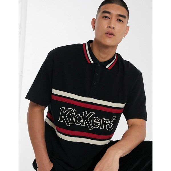 キッカーズ メンズ ポロシャツ トップス Kickers short sleeve polo with panel logo in black Black