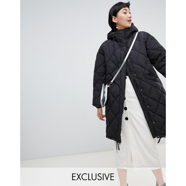 モンキ レディース コート アウター Monki quilted lightweight coat with hoodie in black Black