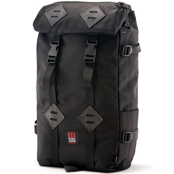 トポ・デザイン メンズ バックパック・リュックサック バッグ Topo Designs Klettersack 22L Backpack Ballistic Black/Black Leather