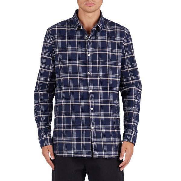 バーニークールス メンズ シャツ トップス Barney Cools Cabin Flannel Shirt Navy Plaid
