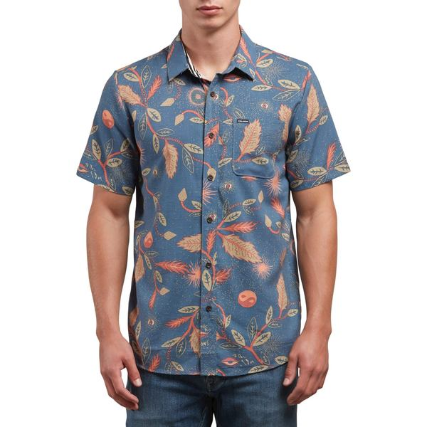 ボルコム メンズ シャツ トップス Volcom Broha Short-Sleeve Shirt Deep Blue
