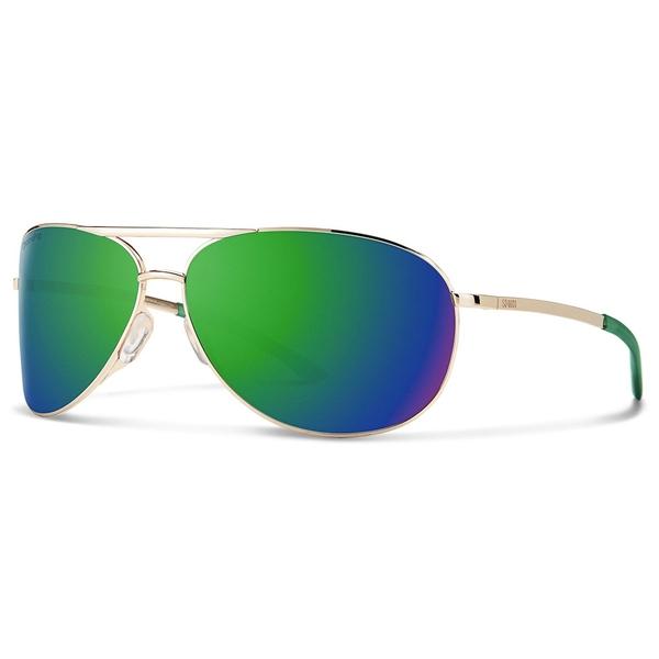 スミス メンズ サングラス・アイウェア アクセサリー Smith Serpico 2.0 Sunglasses Gold/Chromapop Sun Green Mirror