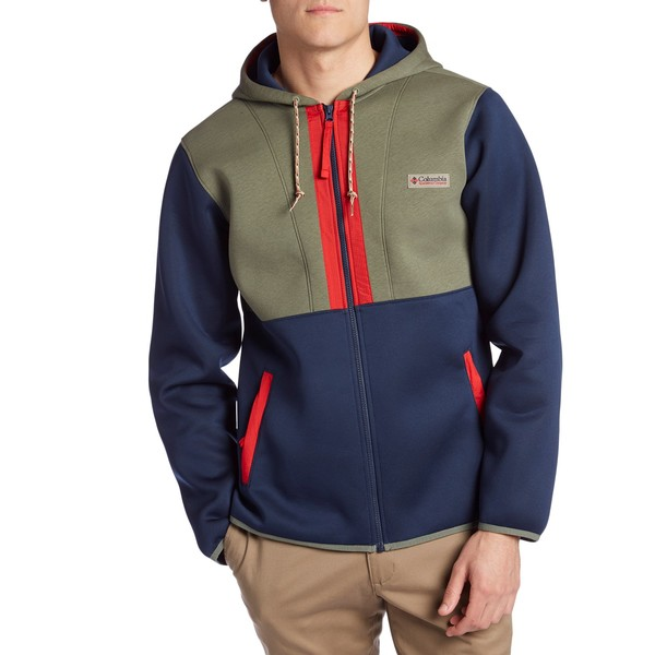 コロンビア メンズ パーカー・スウェットシャツ アウター Columbia CSC Originals Full Zip Hoodie Collegiate Navy/Cypress Heather/Red Spark