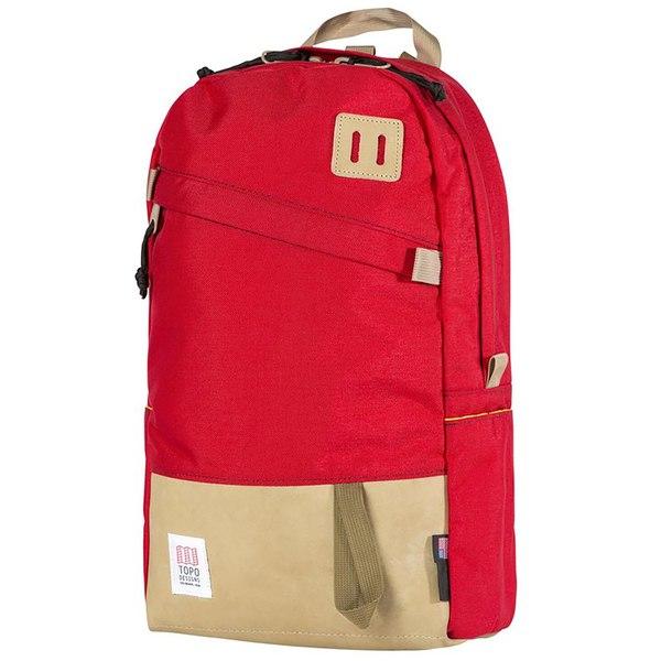 トポ・デザイン メンズ バックパック・リュックサック バッグ Topo Designs Daypack Backpack Red/Khaki Leather