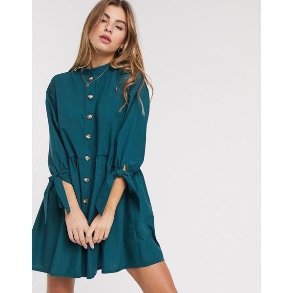 エイソス レディース ワンピース トップス ASOS DESIGN grandad collar button through mini smock dress with tie sleeve in forest green Forest green