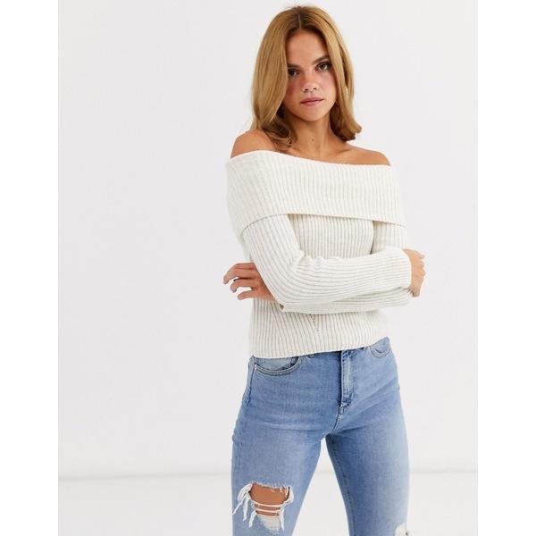 ミスセルフフリッジ レディース ニット&セーター アウター Miss Selfridge bardot sweater in cream two-piece Cream