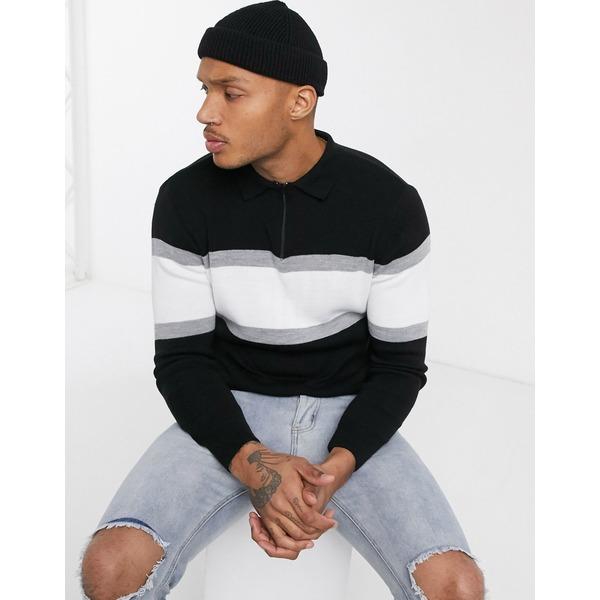 ブーフー メンズ ポロシャツ トップス boohooMAN long sleeve muscle fit color block knitted polo in black Black