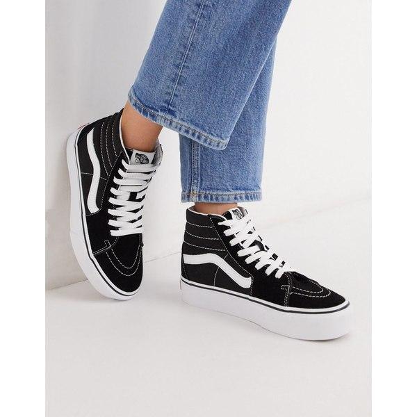 バンズ レディース スニーカー シューズ Vans SK8-Hi Platform 2.0 sneaker in black Black/true white
