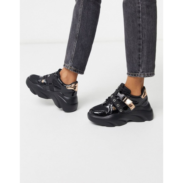 エイソス レディース スニーカー シューズ ASOS DESIGN Darcy chunky lace up sneakers in black Black/metallic