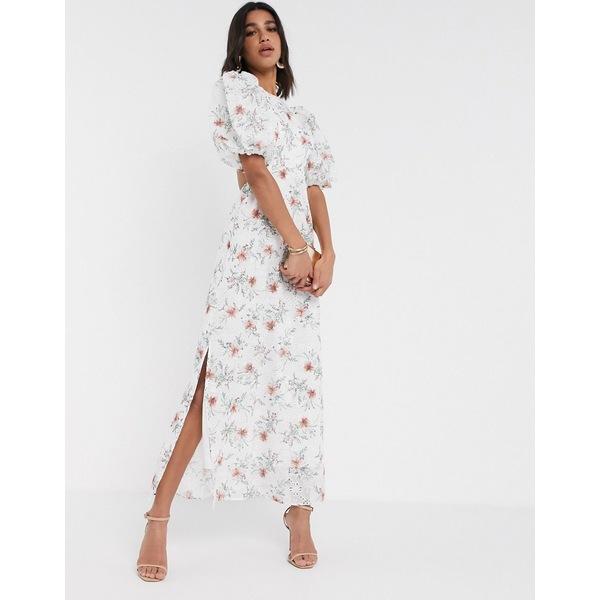 エイソス レディース ワンピース トップス ASOS DESIGN broderie maxi dress with cut out back in floral print White based floral