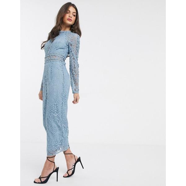エイソス レディース ワンピース トップス ASOS DESIGN long sleeve pencil dress in lace with geo lace trims dusty blue Dusty blue