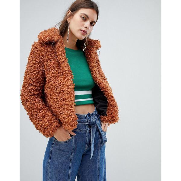 リバーアイランド レディース ジャケット&ブルゾン アウター River Island borg jacket in tan Tan