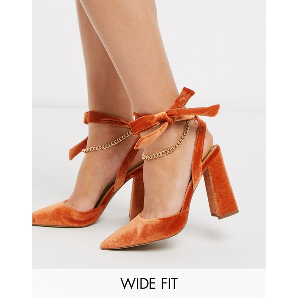 エイソス レディース ヒール シューズ ASOS DESIGN Wide Fit Wholesome pointed block heels with chain anklet in orange velvet Orange velvet