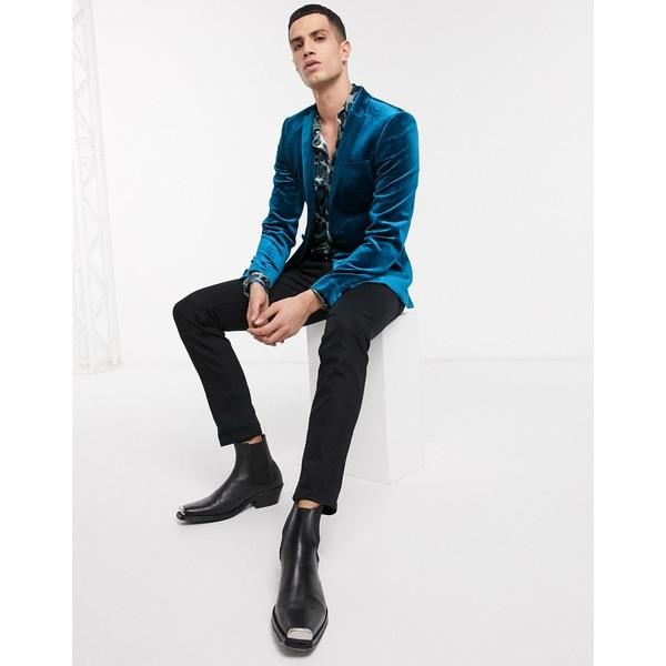エイソス メンズ ジャケット&ブルゾン アウター ASOS DESIGN super skinny blazer in blue texture velvet Blue