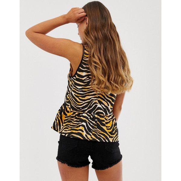 エイソス レディース カットソー トップス ASOS DESIGN sleeveless smock in animal print Black7yb6gYfv