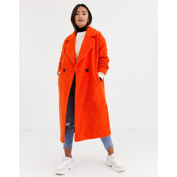 エイソス レディース コート アウター ASOS DESIGN oversized brushed coat in orange Orange