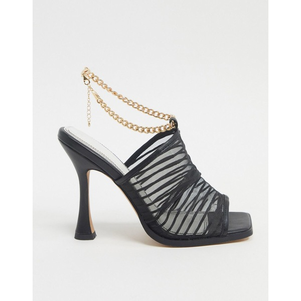 エイソス レディース ヒール シューズ ASOS DESIGN Nelson square toe mesh heeled sandals in black Black