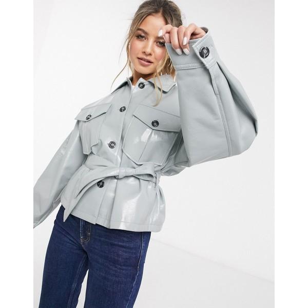 エイソス レディース ジャケット&ブルゾン アウター ASOS DESIGN vinyl tie waist jacket in blue Cornflower blue