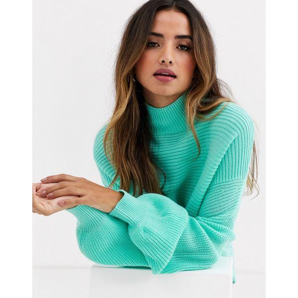 エイソス レディース ニット&セーター アウター ASOS DESIGN sweater with split hem Green