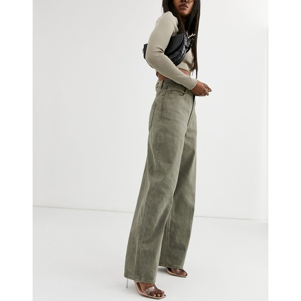 エイソス レディース デニムパンツ ボトムス ASOS DESIGN High rise 'Relaxed' dad jeans in khaki Khaki