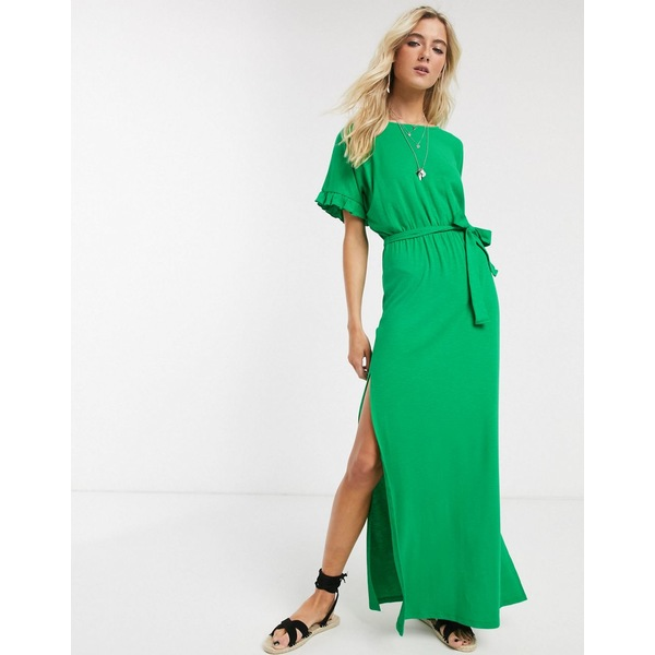 エイソス レディース ワンピース トップス ASOS DESIGN frill sleeve belted maxi dress in green Fern green