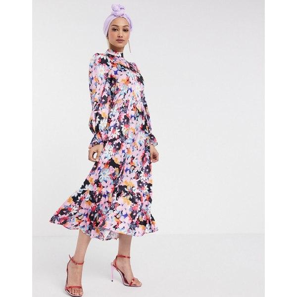 ネバーフリードレスド レディース ワンピース トップス Never Fully Dressed long sleeve fluted sleeve maxi dress in pink floral print Multi