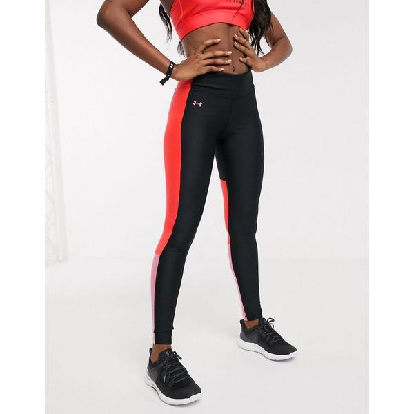 アンダーアーマー レディース レギンス ボトムス Under Armour Training perforated insert leggings in black and pink Black
