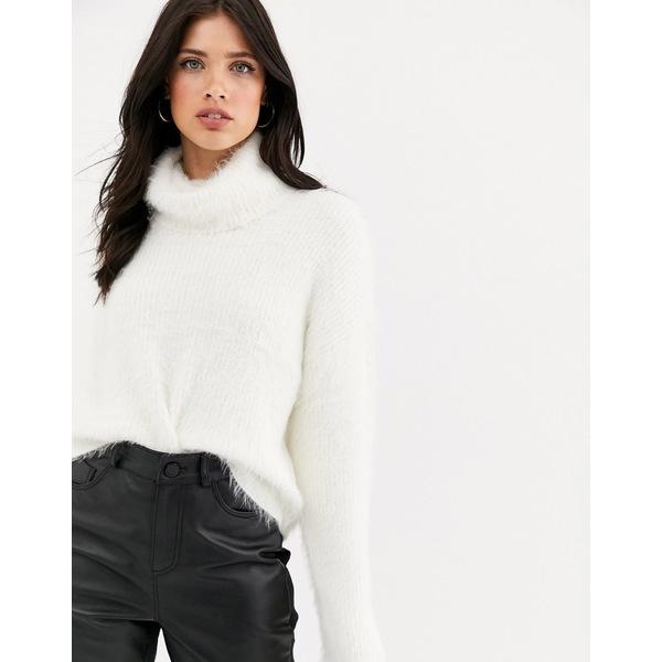 ヴェロモーダ レディース ニット&セーター アウター Vero Moda roll neck fluffy sweater in off white White