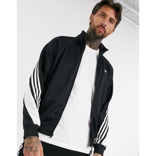 アディダスオリジナルス メンズ ジャケット&ブルゾン アウター adidas Originals track jacket with wrap 3 stripes black Bk1 - black 1