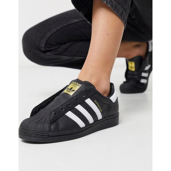 アディダスオリジナルス レディース スニーカー シューズ adidas Originals Laceless Courtside Superstar sneaker in black Black