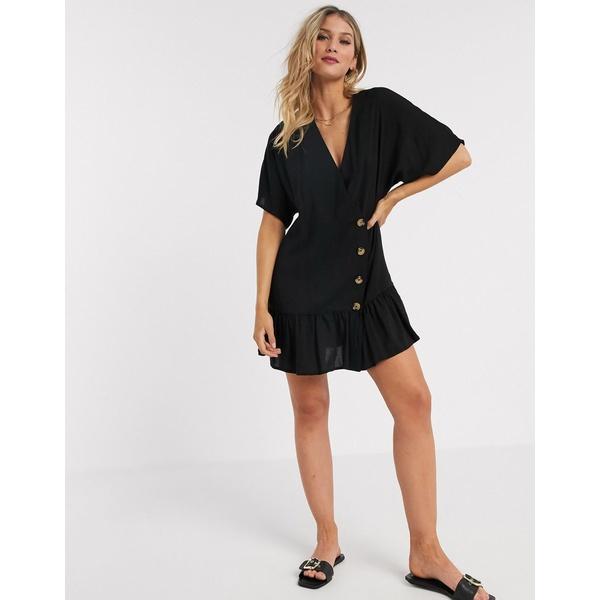 エイソス レディース ワンピース トップス ASOS DESIGN button through wrap mini smock dress with pep hem Black
