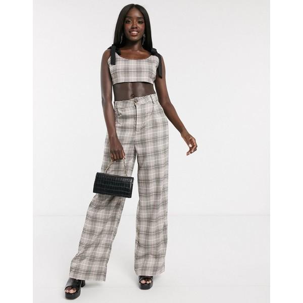 インザスタイル レディース カジュアルパンツ ボトムス In The Style x Fashion Influx wide leg tailored pants two-piece in check Multi