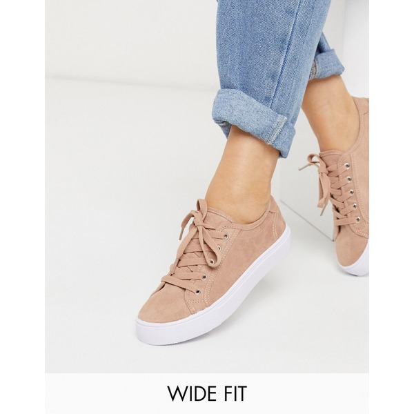 エイソス レディース スニーカー シューズ ASOS DESIGN Wide Fit Dizzy lace up sneakers in warm beige Warm beige