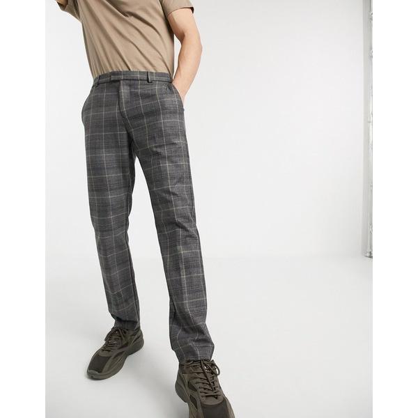リバーアイランド メンズ カジュアルパンツ ボトムス River Island slim fit smart pants in gray check Charcoal