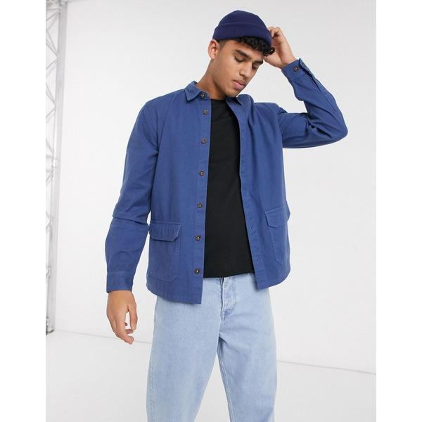 エイソス メンズ シャツ トップス ASOS DESIGN textured overshirt with pockets in blue Blue