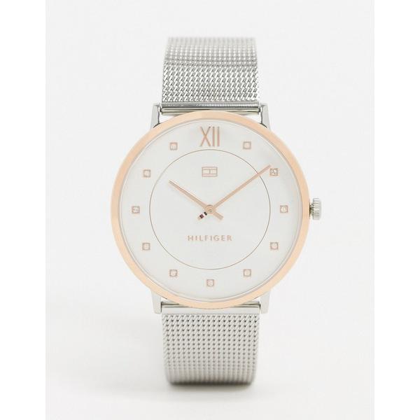 トミー ヒルフィガー メンズ 腕時計 アクセサリー Tommy Hilfiger 1781811 silver mesh contrast watch Silver