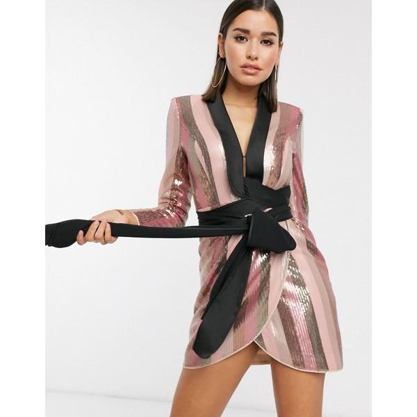 エイソス レディース ワンピース トップス ASOS DESIGN tux mini dress in pink stripe sequin embellishment Pink stripe