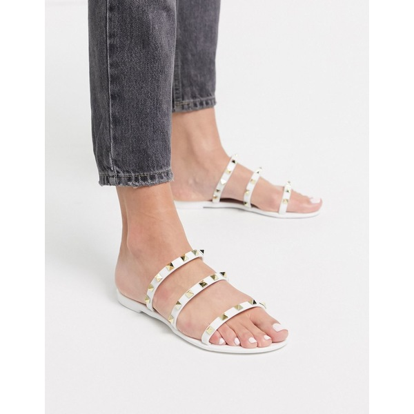 パブリックデザイア レディース サンダル シューズ Public Desire Cosmic studded flat jelly sandals in white White