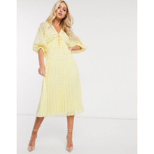 エイソス レディース ワンピース トップス ASOS DESIGN pleated dobby midi dress with lace up front in yellow Spring yellow