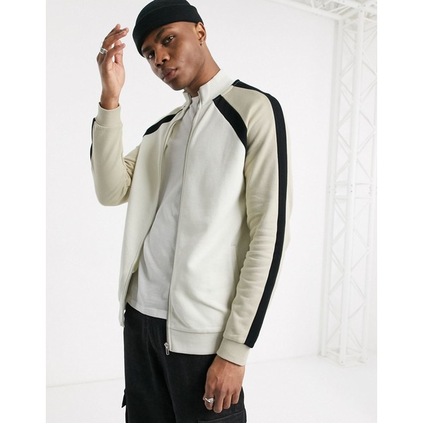 エイソス メンズ ジャケット&ブルゾン アウター ASOS DESIGN track jacket with color block sleeve stripes in black / gray / beige Bk1 - black 1