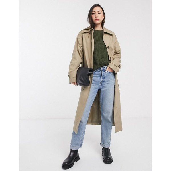 エイソス レディース コート アウター ASOS DESIGN boyfriend trench coat in stone Stone