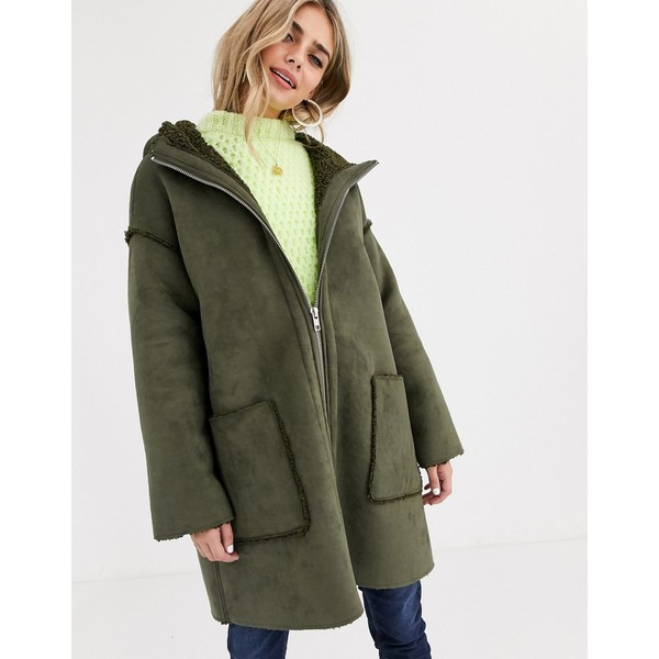 エイソス レディース コート アウター ASOS DESIGN shearling parka with seam detail in khaki Khaki