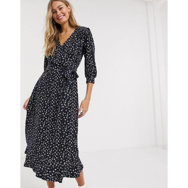 オアシス レディース ワンピース トップス Oasis polka dot wrap tiered midi dress in navy Multi blue