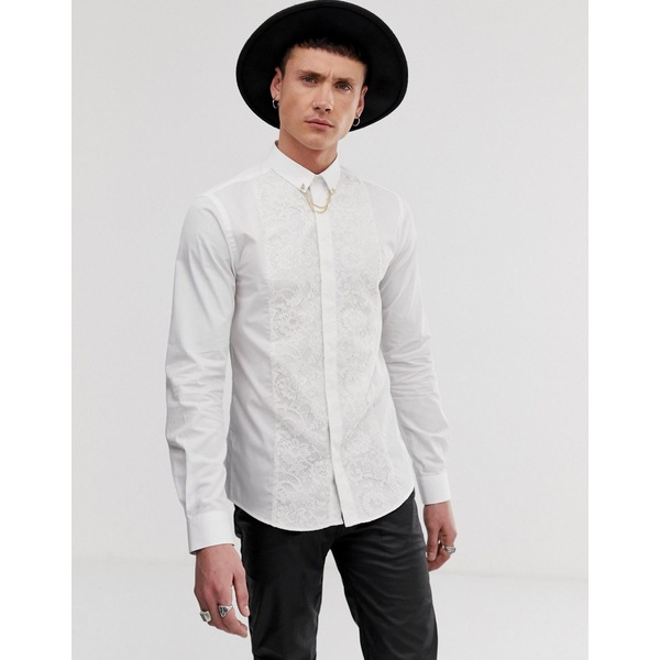 ツイステッドテイラー メンズ シャツ トップス Twisted Tailor super skinny fit shirt with lace panel in white White